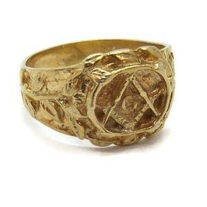 14k Solid Yellow Gold Masonic Mens Ring!!